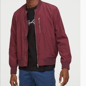 H & M LOGG Maroon ZIP Up Bomber Jacket